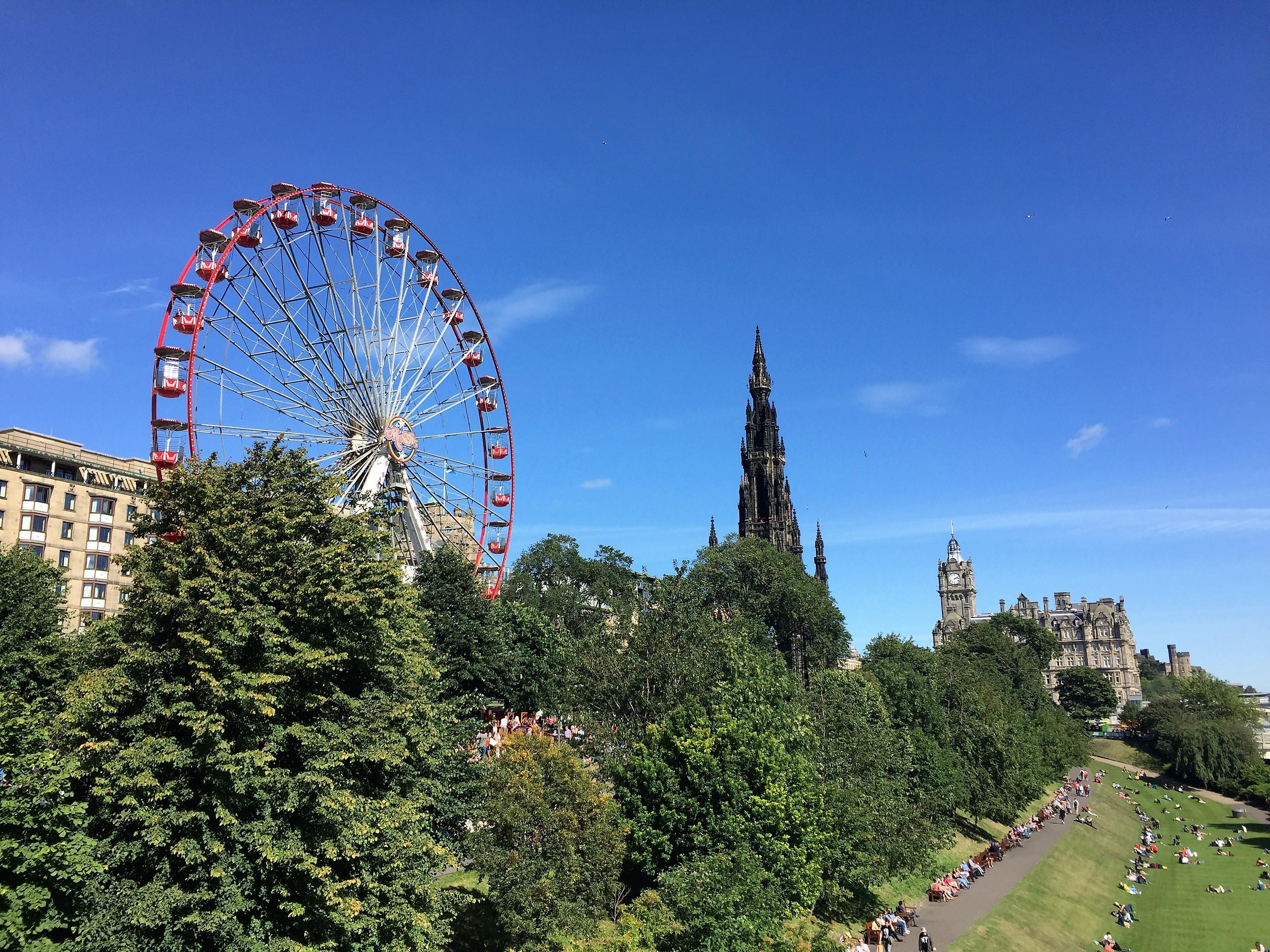 Walking along the riverfront in Edinburgh.